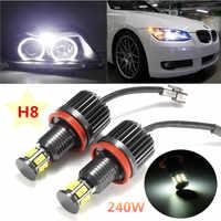 2Pcs 120W H8 Angel Eye Halo Ring Light Auto lighting White 6000K For BMW E82 E90 E92 E60 E61 E63 E89 2007-2013