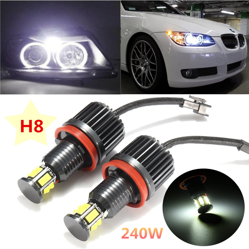 2Pcs 120W H8 Angel Eye Halo Ring Light Auto lighting White 6000K For BMW E82 E90 E92 E60 E61 E63 E89 2007 2013