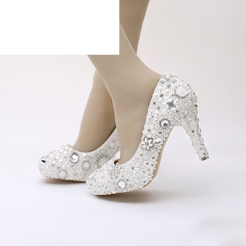 Snow White Pearl Wedding Shoes Rhinestone Dress Shoes Party Prom Platform 3 Inches High Heels Pageant Event Pumps Women ShoesSnow White Pearl Wedding Shoes Rhinestone Dress Shoes Party Prom Platform 3 Inches High Heels Pageant Event Pumps Women Shoes