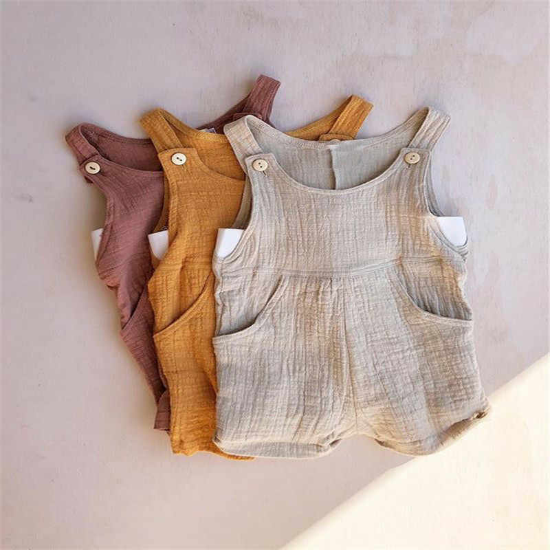 dfe61b556 Newborn Baby Girl Summer Cotton Linen Romper Jumpsuit Sleeveless Outfits  Clothes Casual Baby Clothing Rompers