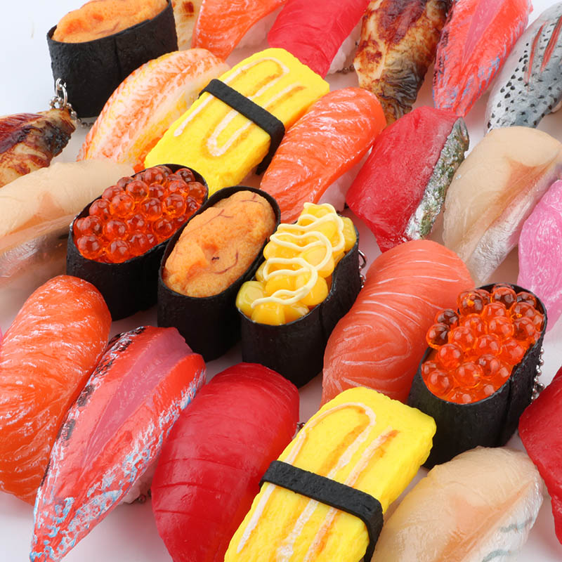 Image 5 - PVC Simulation Sushi Keychain Japan Food Model Toy Sashimi Eel Sea Urch Restaurant Toys For Children Creative Gift-in Action & Toy Figures from Toys & Hobbies