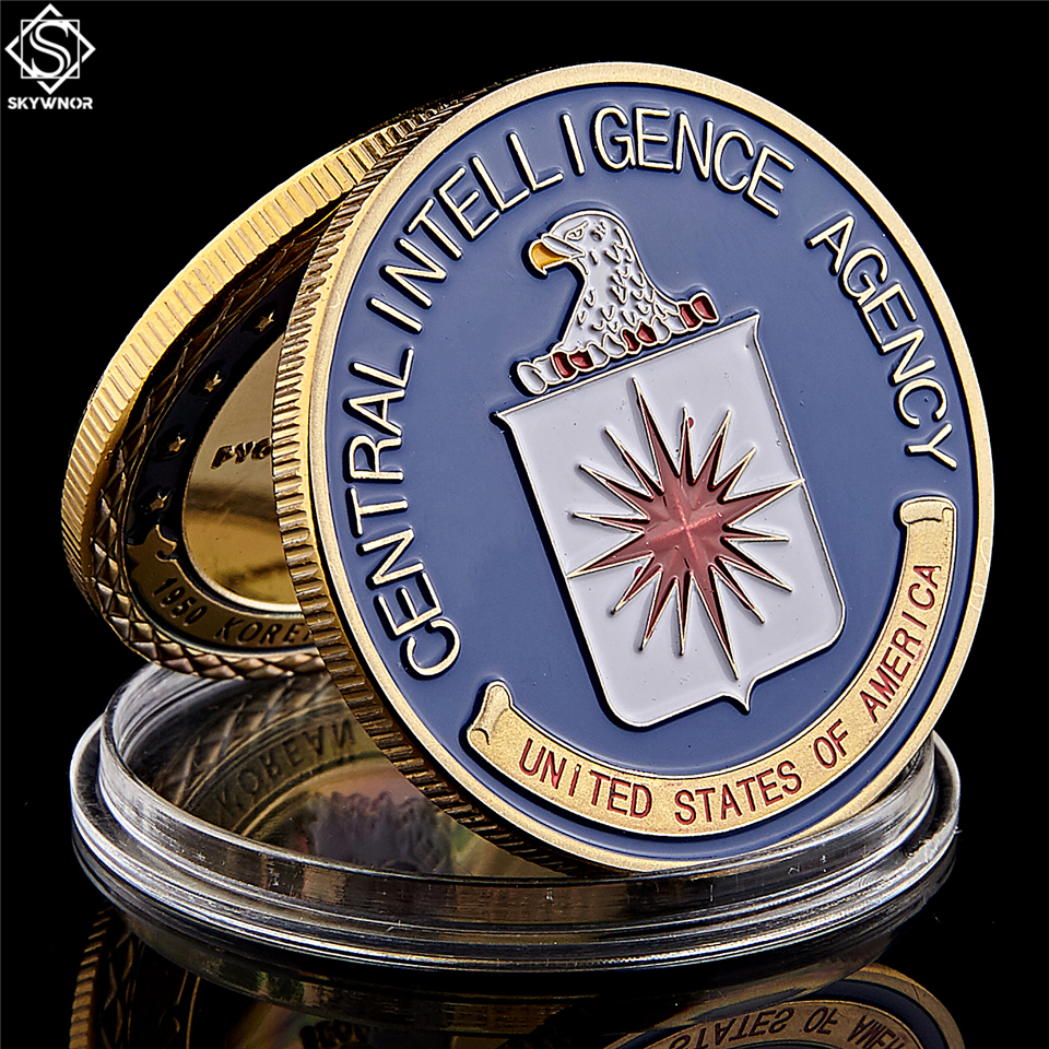 America Military US Central Intelligence Agency Coin Gold CIA Challenge Coin Collectibles With Hard Capsule