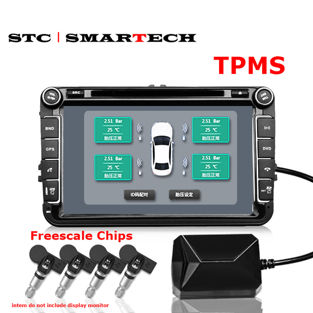 Android DVD TPMS USB Tire Alarm Auto Tire Pressure Monitoring System 4 Tire external / inner Sensors Temperature Alarm inner