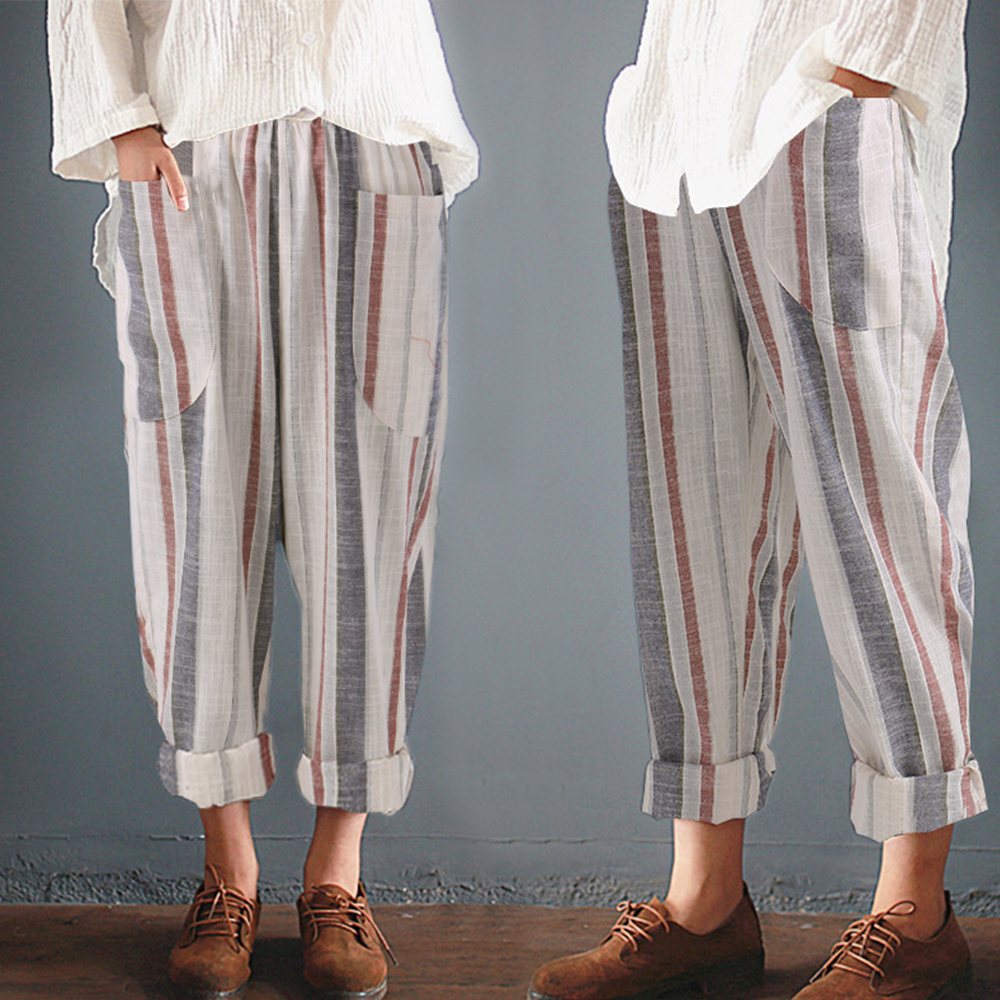Plus Size Cotton Linen Trousers Women Summer Loose Harem High Waist Stripe Pocket Pant Casual Pantalon Female Sweatpants Trouser
