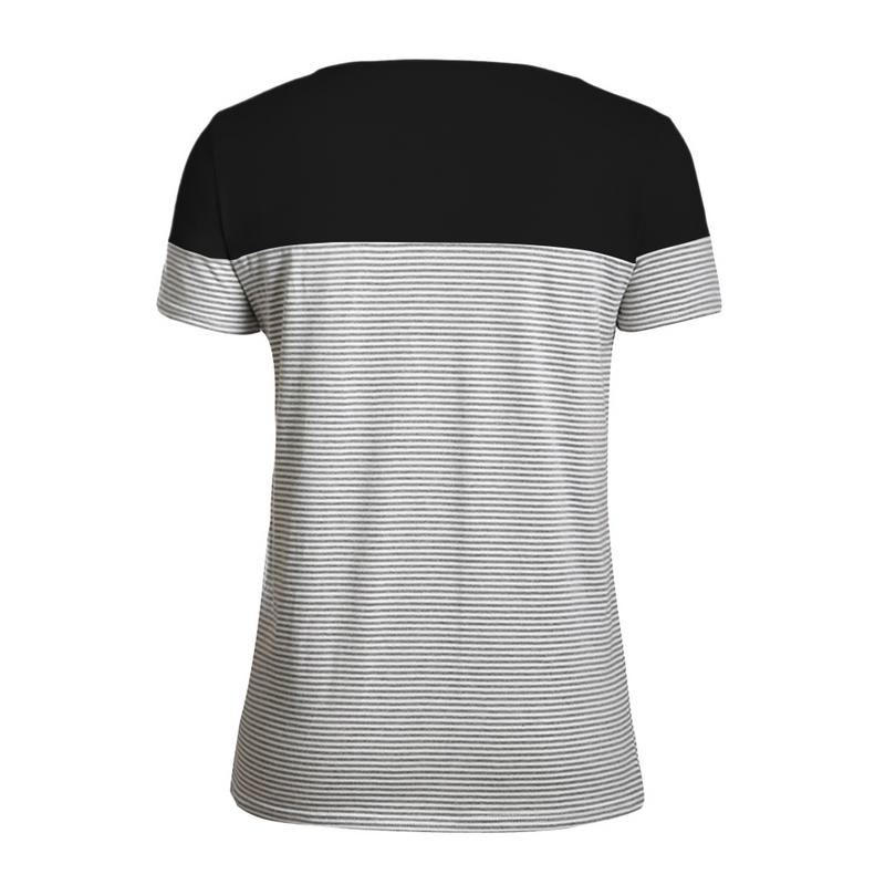 2019 Plus Size Women Summer T-shirts Ladies Clothing Color Block Striped Short Sleeve Large Size T-shirt For Female New Arrival