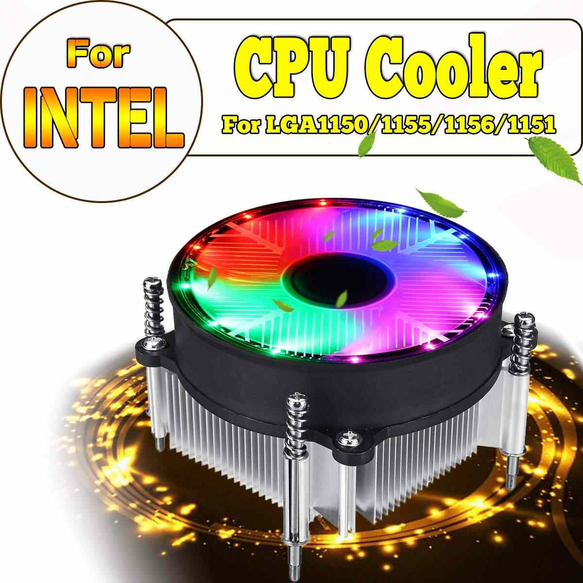 For Intel CPU Cooler Cooling Fan LED Silence 3Pin Fan Radiator Heatsink Cooler Support for Intel 115X Series 1150 1155 1156 1151