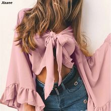 Xnxee New 4 Solid Color Chiffon Shirt Women Bow Crop Top Casual Sexy V Neck Flare Sleeve Fashion Tops Streetwear