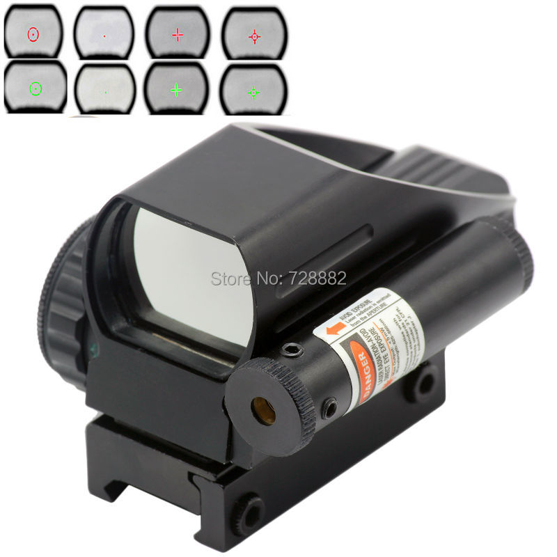 Tactical Holographic 4 Reticle Reflex Green Red Dot Sight Laser Sight Combo For Hunting