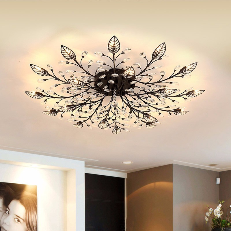 Modern LED Chandelier Fixtures For Living Room Crystal Lampshade Decor Home Lighting Black Gold Bedroom Lustre