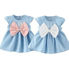 2018 Sweet Baby Girls Bow-knot Design Mini Dress Children Baby Summer Style Fashion Short Sleeve Party Dress Kids Clothes