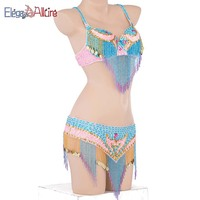E&A Stage Dance Wear Belly Dance Costume Set For Women BellyDance Bra Skirt Performance Suit Professional Top Waist Chain Set