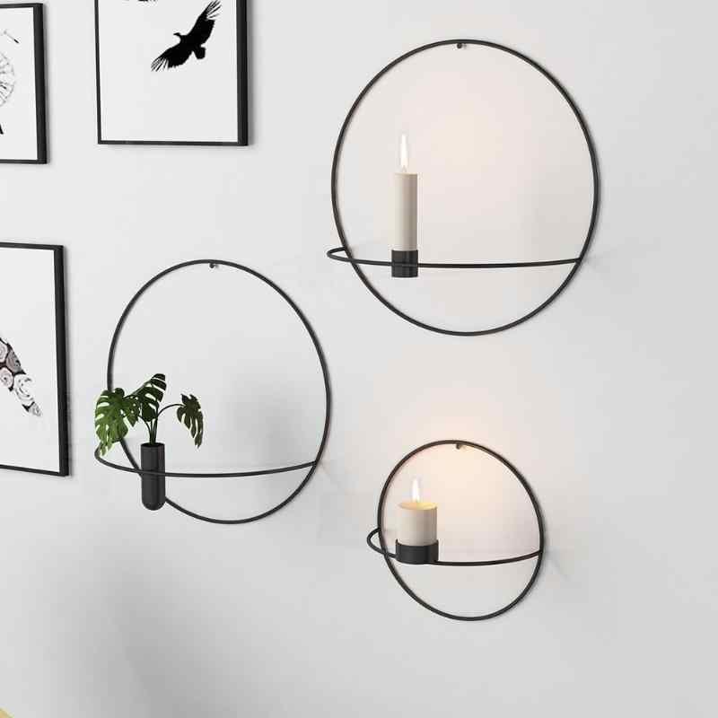 현대 미술 3D 벽 마운트 캔들 홀더 2019 금속 빈티지 매달려 건조 꽃병 기하학 차 빛 홈 장식 촛대