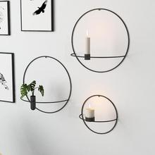 Arte moderno 3D montado en la pared portavelas 2019 Metal colgante Vintage jarrón de flores secas geométrico té luz decoración del hogar candelabro