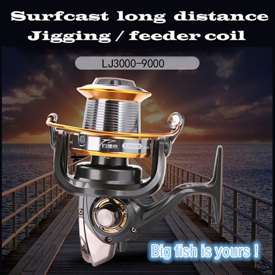 Surfcast Long Distance Fishing Reel 3000 8000 9000 Large Coil Feeder Metal Spinning Wheel Carp Fish Tool Shore Boat Accessories