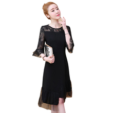 2019 Spring Summer Elegant Office Lady Women Dresses O-neck Flare Sleeve Hollow Out Sexy Bodycon Party Dress Vestido Plus Size цена и фото