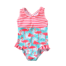 купить 2018 Kids Girl Flamingo Swimsuit One Piece Swimwear Cross Back Swimming Bathing Suit Beachwear Swimming Suit For Children Girls дешево
