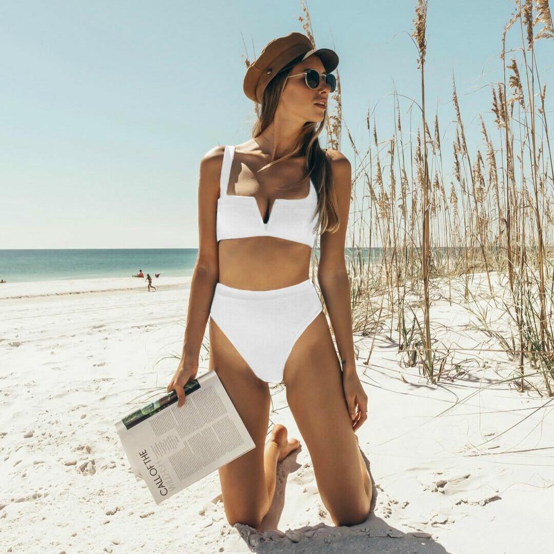 2019 NEW Women's Sexy Two-piece Suit Swimwear Fashion Deep V Pure Color High Waist Swimsuit Bandage Push Up Beachwear