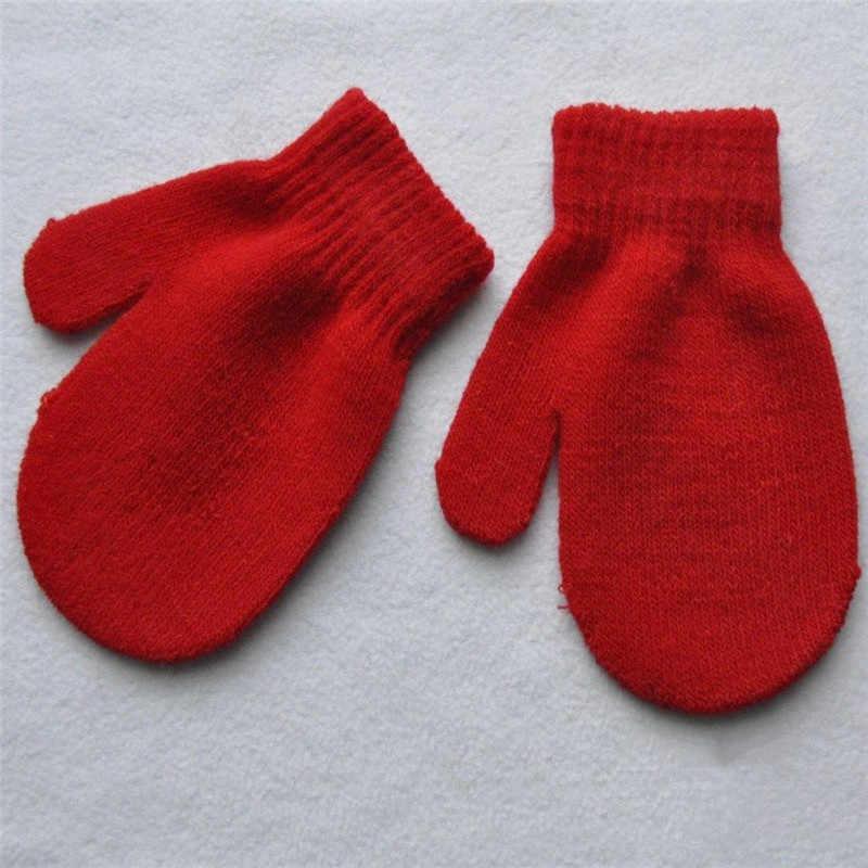 Лидер продаж; Новинка; красные варежки для малышей; перчатки для мальчиков и девочек; однотонные зимние теплые удобные детские перчатки; 7 цветов