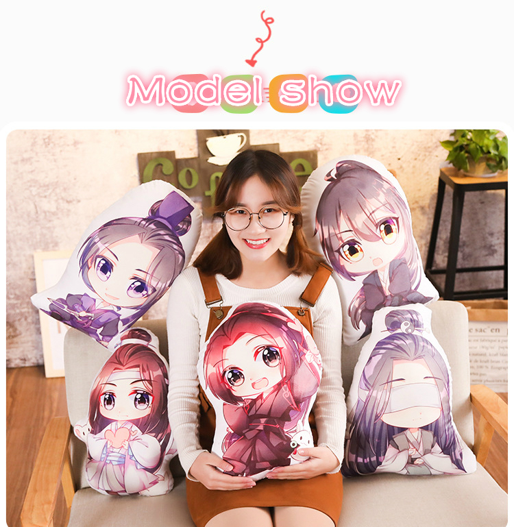 Giancomics 50cm Hot Anime Mo Dao Zu Shi Wei Wuxian Pillow Humanoid Pillow Lan Wangji Figure Bolster Home Furnishing The Ancients