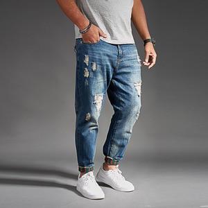 Image 2 - Ripped Jeans For Men Blue Black Denim Mens Jean Homme Harem Hip Hop Plus Size Trousers 44 46 48 Mens Uomo Fashions Jogger Pants