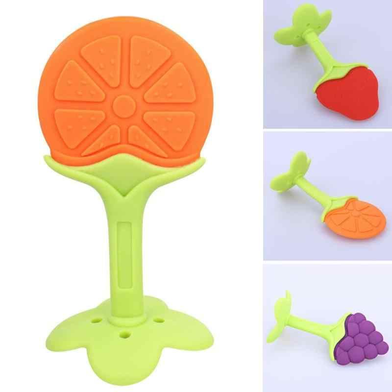 Mordedor mordedor mordedor mordedor dentes traning criança dentição de cuidados dentários brinquedos de segurança do bebê novo design bonito infantil silicone frutas árvore