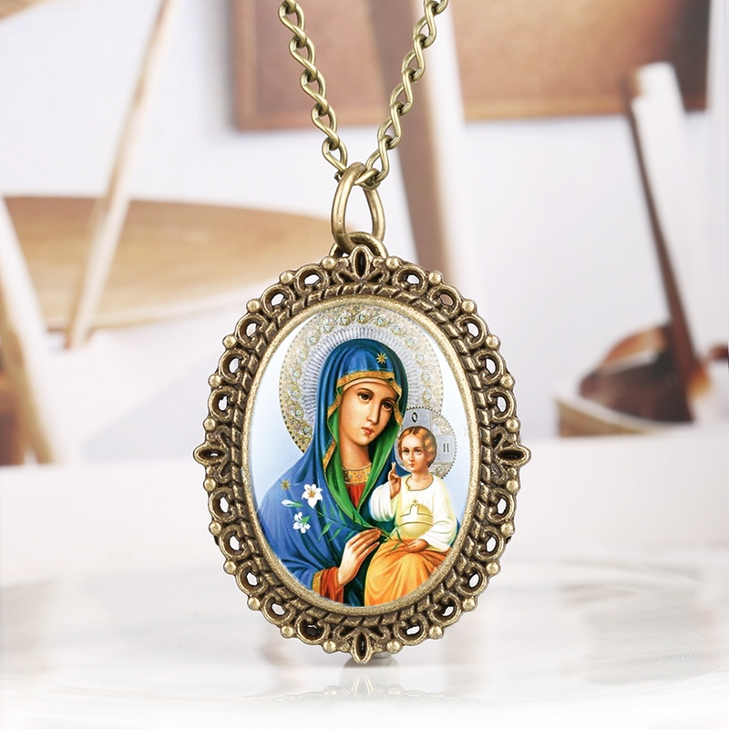 Blessed Virgin Mary With Children Oil Painting Display Quartz Pocket Watch Retro Souvenir Pendant Necklace Clock Gifts For Women