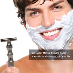 Двусторонняя бритва Безопасная бритва для бороды бритва цинковый сплав ручной усы удаление инструмент для бритья модно