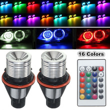 цена на For BMW E39 E60 E61 E63 E64 2Pcs RGB LED Multi-Color Angel Eyes Light Bulb Remote LED Bulb Flash Car Headlight