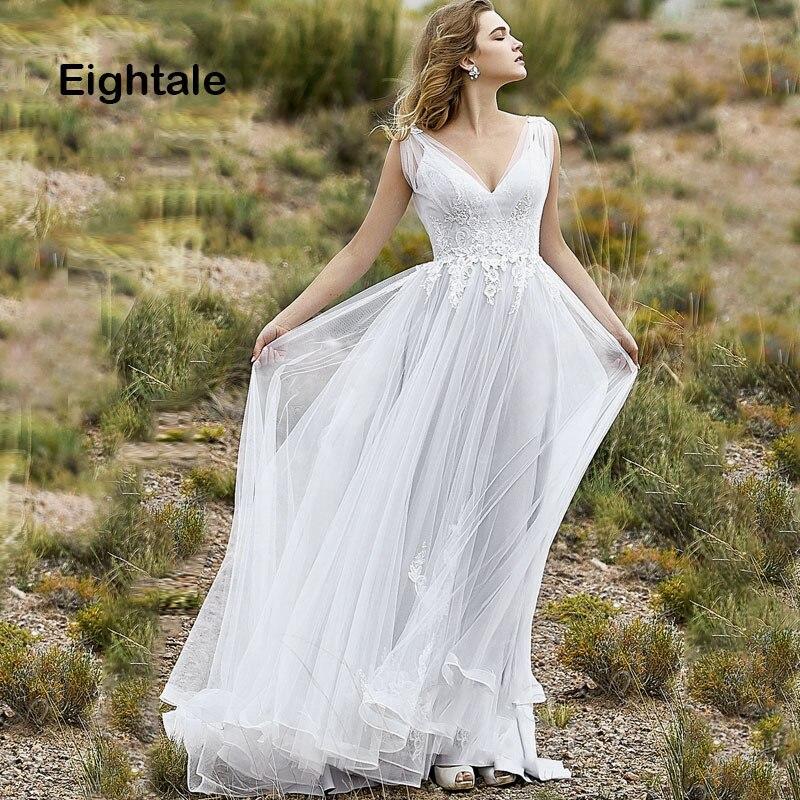 Eightale Boho Wedding Dresses Beach V Neck Open Back Tulle ...