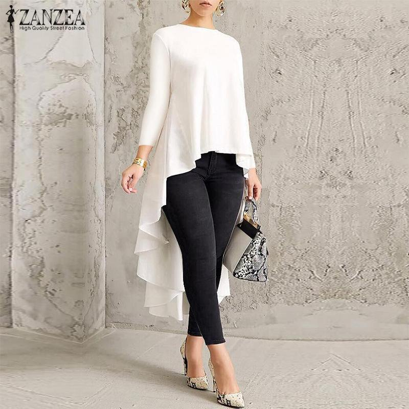 2019 ZANZEA Women's Asymmetrical Swallowtail Blouse Female Pleated Long Sleeve Shirt Solid Blusas Oversized Tunic Tops Chemise