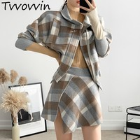 Wool Plaid Two Piece Set Female Batwing Long Sleeve Coat High Waist Asymmetrical Skirt Womens Suits 2019 Spring New E173