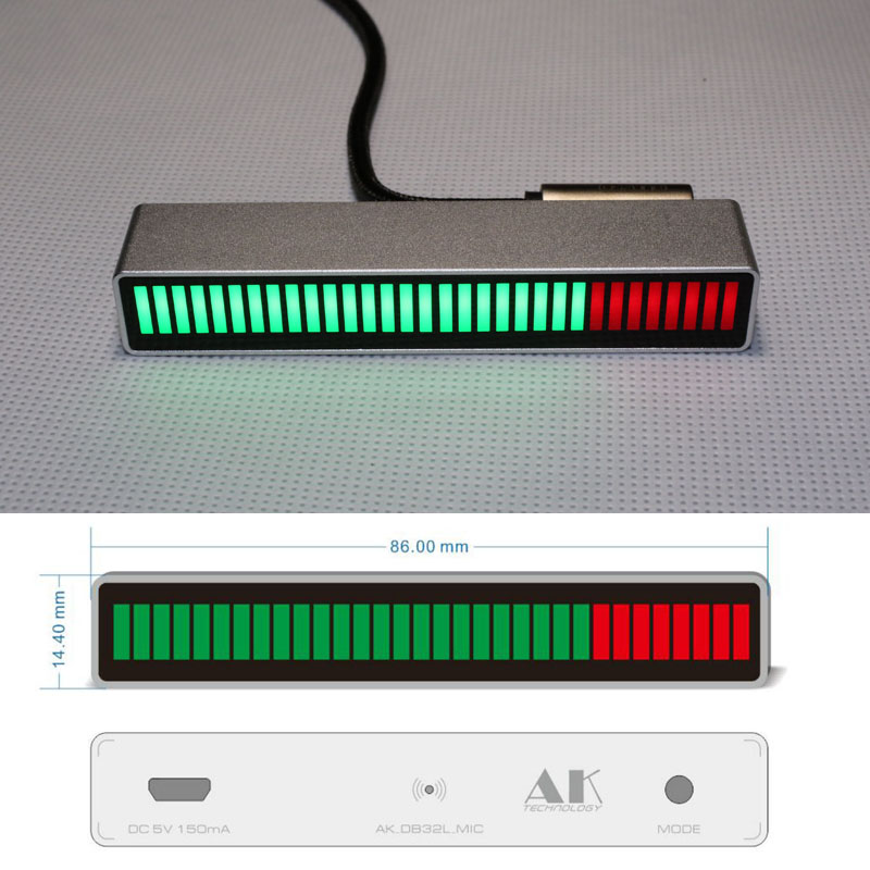 Sound Control Mono 30 Level indicator Spectrum display LED VU Meter Amplifier Board lamps Light Speed Micro USB for car mp3