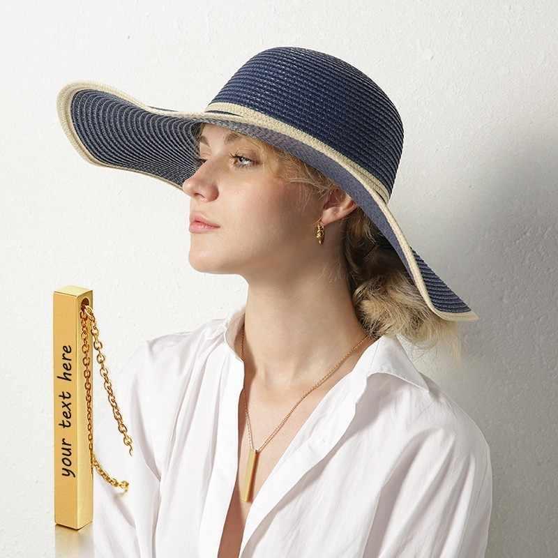 Kobiety naszyjnik pionowe prostokątne Bar pełna personalizacja naszyjnik 4 jednostronne srebrny złota róża złoty kolor niestandardowy pani mama prezenty