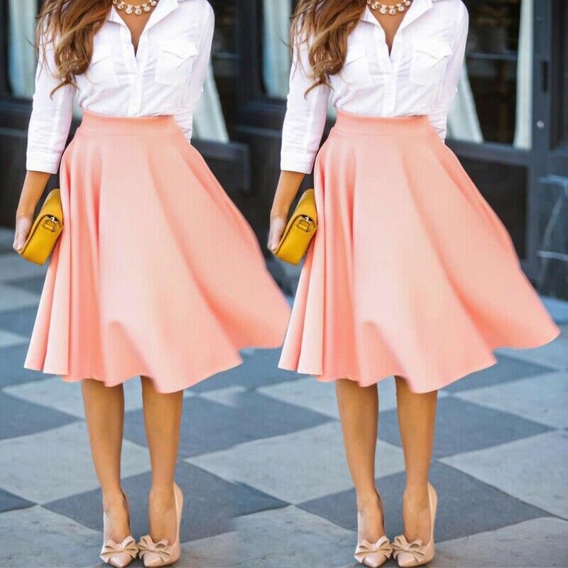 33c2c5081 2019 nueva moda mujer Casual A-Line plisado poliéster Midi faldas Oficina  señoras bola falda S-XXL