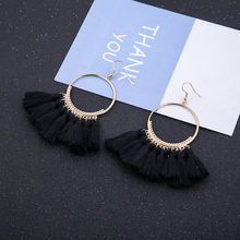 Trendy Earrings Drop Earrings Silk/Alloy/Dangle/Long/Bohemian/Blue/Orange/Metal/Boho/Gold Tassel Earrings For Women Jewelry CS51(China)