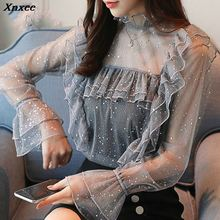 fashion women blouses 2019 sexy hollow lace women blouse shirt long sleeve ladies tops blusa feminina shirt women tops Xnxee lace blouse women turtleneck long sleeve flare sleeve black shirt lady street wear sexy perspective blouses blusa white tops