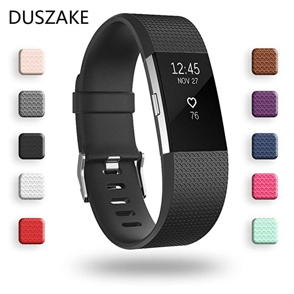 Duszake Replacement-Bands Bracelet-Strap Charge2-Band Fitbit-Charge Silicone Wristband-Accessories