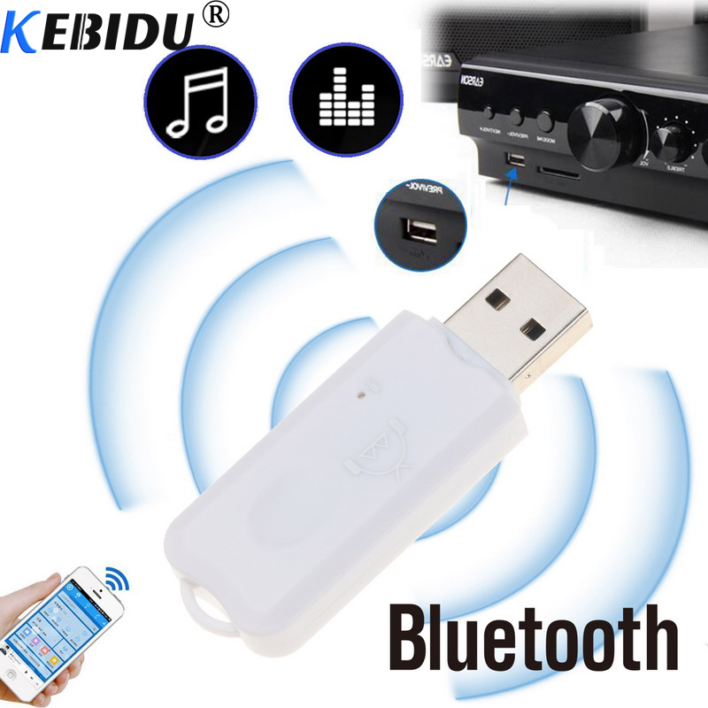 Kebidu MIni USB Bluetooth Receiver Audio A2DP Dongle Music Receiver Wireless Adapter Build In MIC For Car AUX Android/IOS Phone