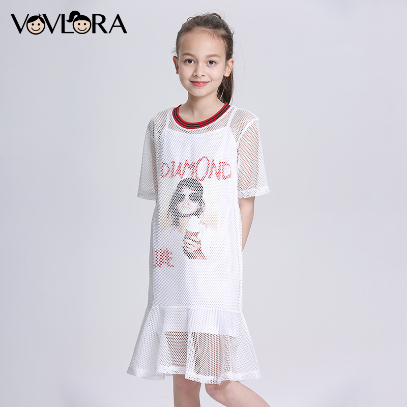 Two Piece Mesh Ruffles Kids Dress Print A Line O Neck Girls Dress Casual Summer 2018 Children Clothes Size 9 10 11 12 13 14 Year allegri