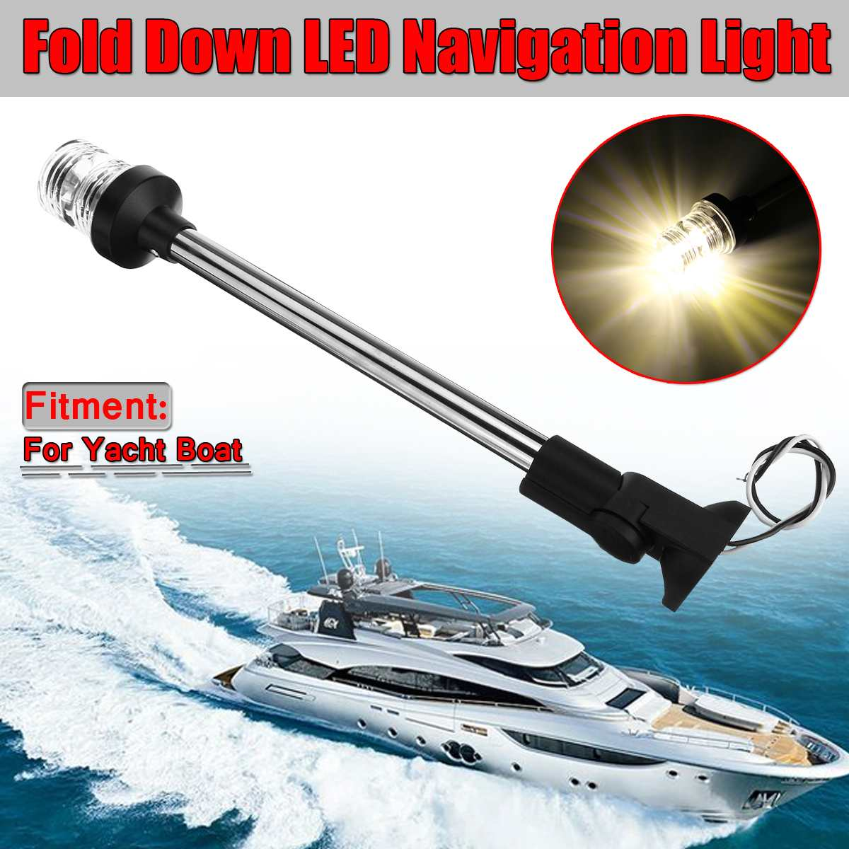 New 12-24V 16inch Pactrade Fold Down Universal LED Navigation Lights Marine Boat Rvs Stern Anchor Light Boat Transom Light image