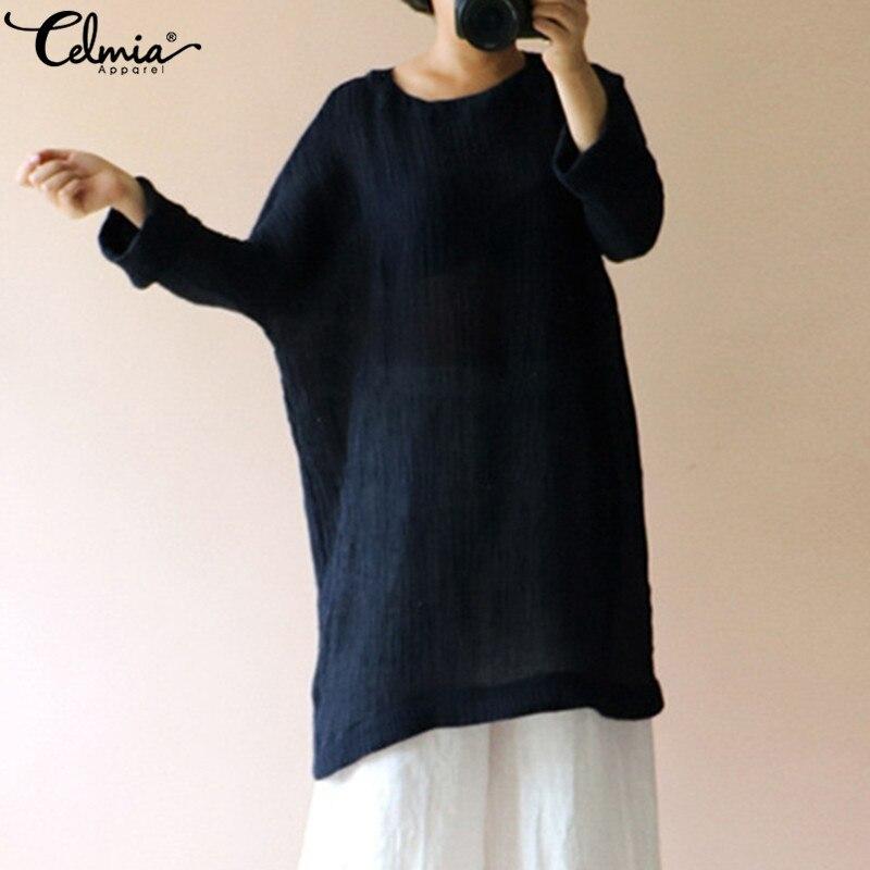 6d4e5037fc273 Celmia Women Vintage Blouse Plus Size Tops 2019 Spring Autumn Casual Loose  Solid Long Shirts O