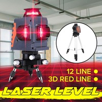 3D IP54 Waterproof 12 Lines Laser Levels 360 Degree Rotation Measure Auto Leveling Horizontal Vertical Powerful Red Laser Beam