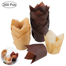 Hot New 200PCS Set Tulip Shape Muffins Baking Boxes Paper Cupcake Wrappers Tray Tools Kitchen Party Home Office Decorating DIY