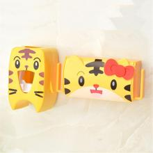 Cartoon Automatic Toothpaste Dispenser Wall Mounted Trace-free Adhesion Toothbrush Holder Kit Bathroom Toiletries Holder Set