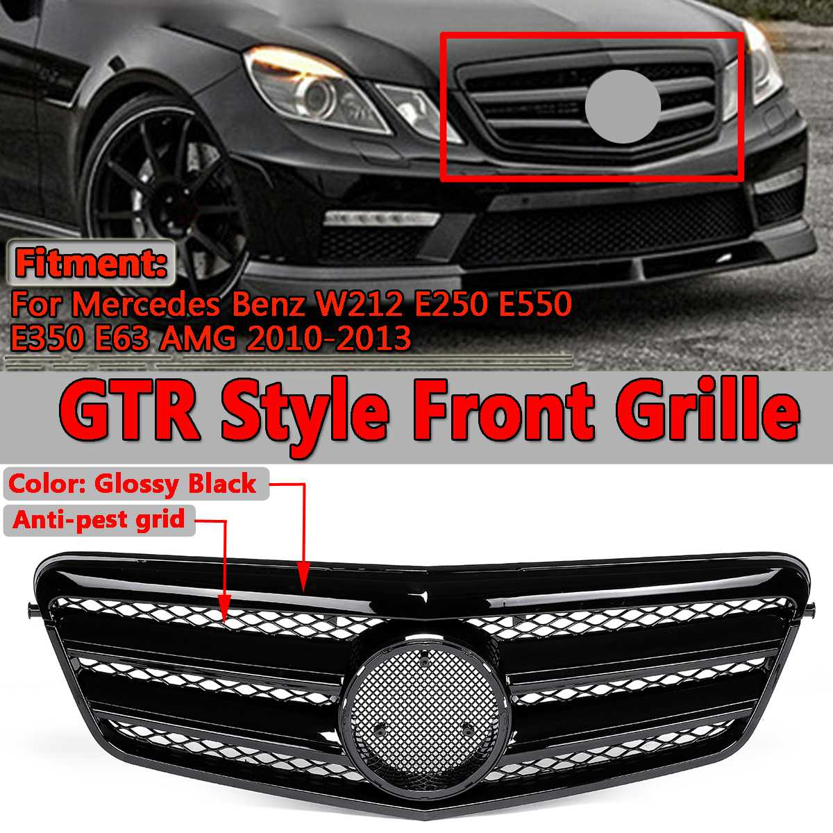 For AMG Style Car Front <font><b>Grill</b></font> Grille For <font><b>Mercedes</b></font> For Benz <font><b>W212</b></font> E250 E550 E350 E63 For AMG 2010-2013 Racing <font><b>Grills</b></font> Sedan 4Dr image