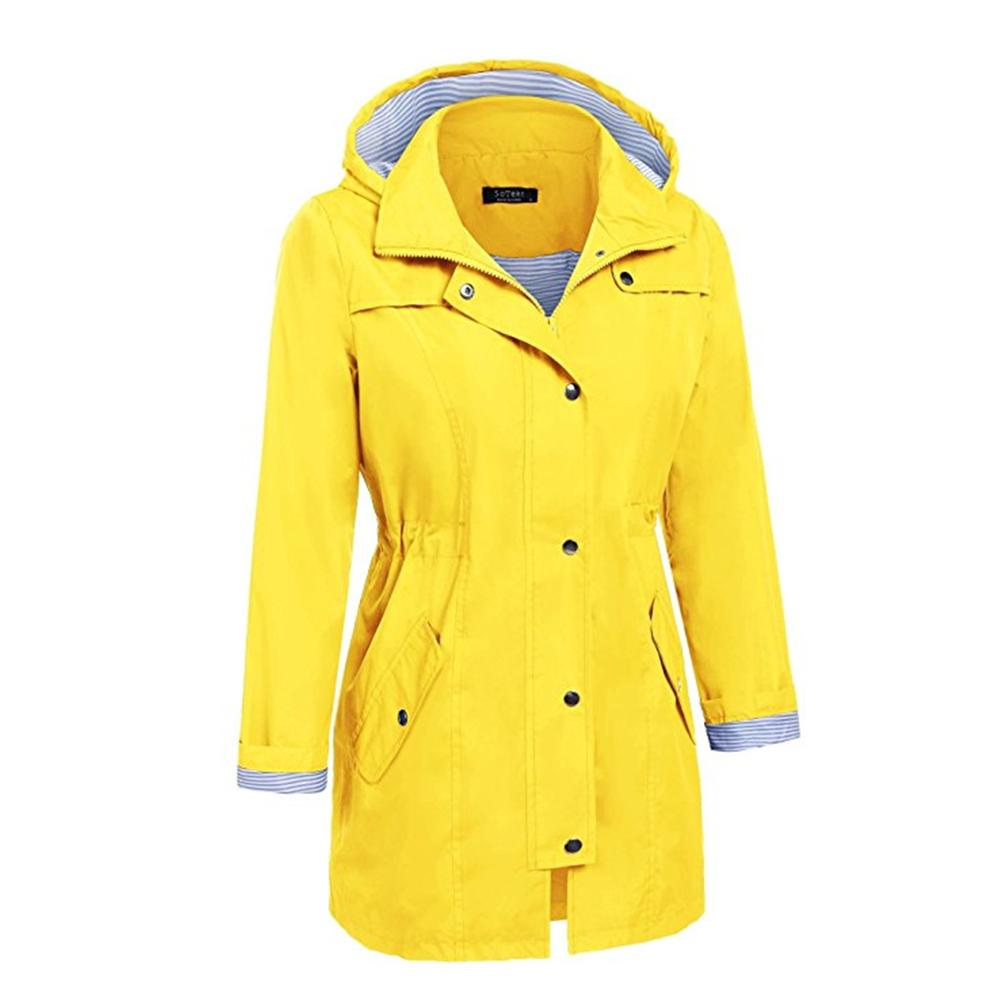 SaphiRose Womens Long Hooded Rain Jacket Outdoor Raincoat Windbreaker Clothing Cycling 24oradea.ro