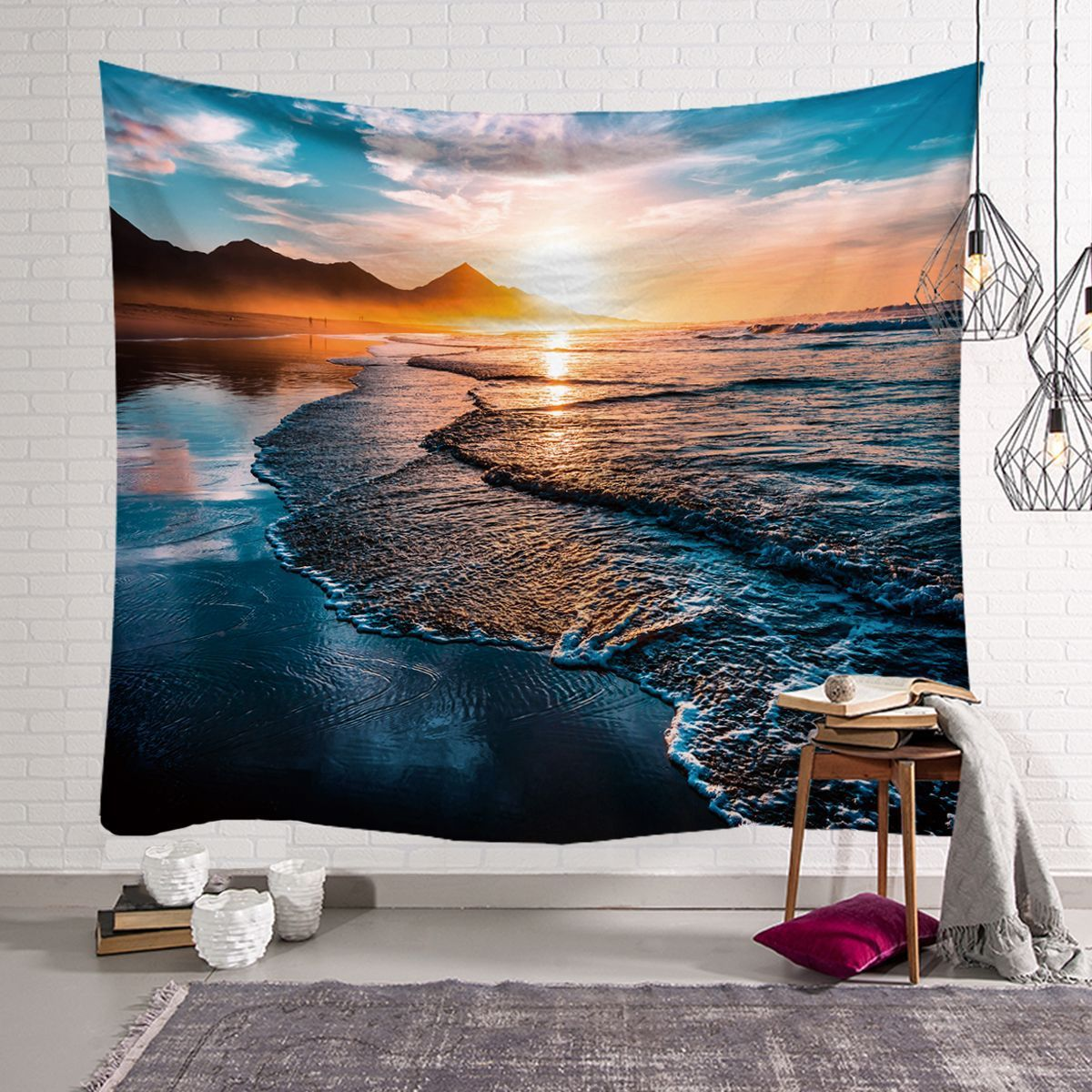 Seaside Scenery Series Tapestry <font><b>macrame</b></font> wall hanging Natural boho decor wall cloth tapestries psychedelic <font><b>tenture</b></font> <font><b>mural</b></font> blanket image