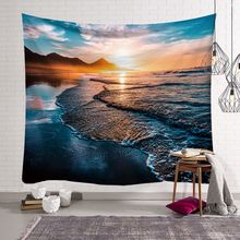 Seaside Scenery Series Tapestry macrame wall  hanging Natural boho decor wall cloth tapestries psychedelic tenture mural blanket