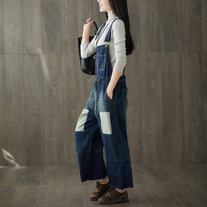 2019 New Fashion Wide Leg Bib Pants Women Adjustable Straps Lace Up Loose Denim Overalls Casual Large Size Jeans