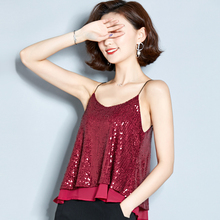 Sequined Club Camisole Top Girls Fashion Shinning Tanks Tops With Linning For Woman Summer JM6252